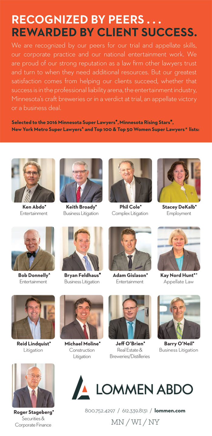 Lommen Abdo's 2016 Super Lawyers and Rising Stars Ad