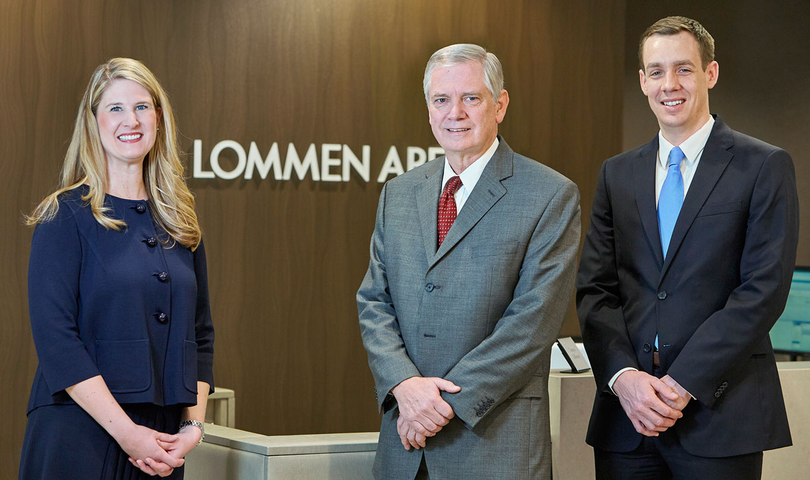 Lauren Nuffort, Keith Broady and Jesse Beier of Lommen Abdo Law Firm