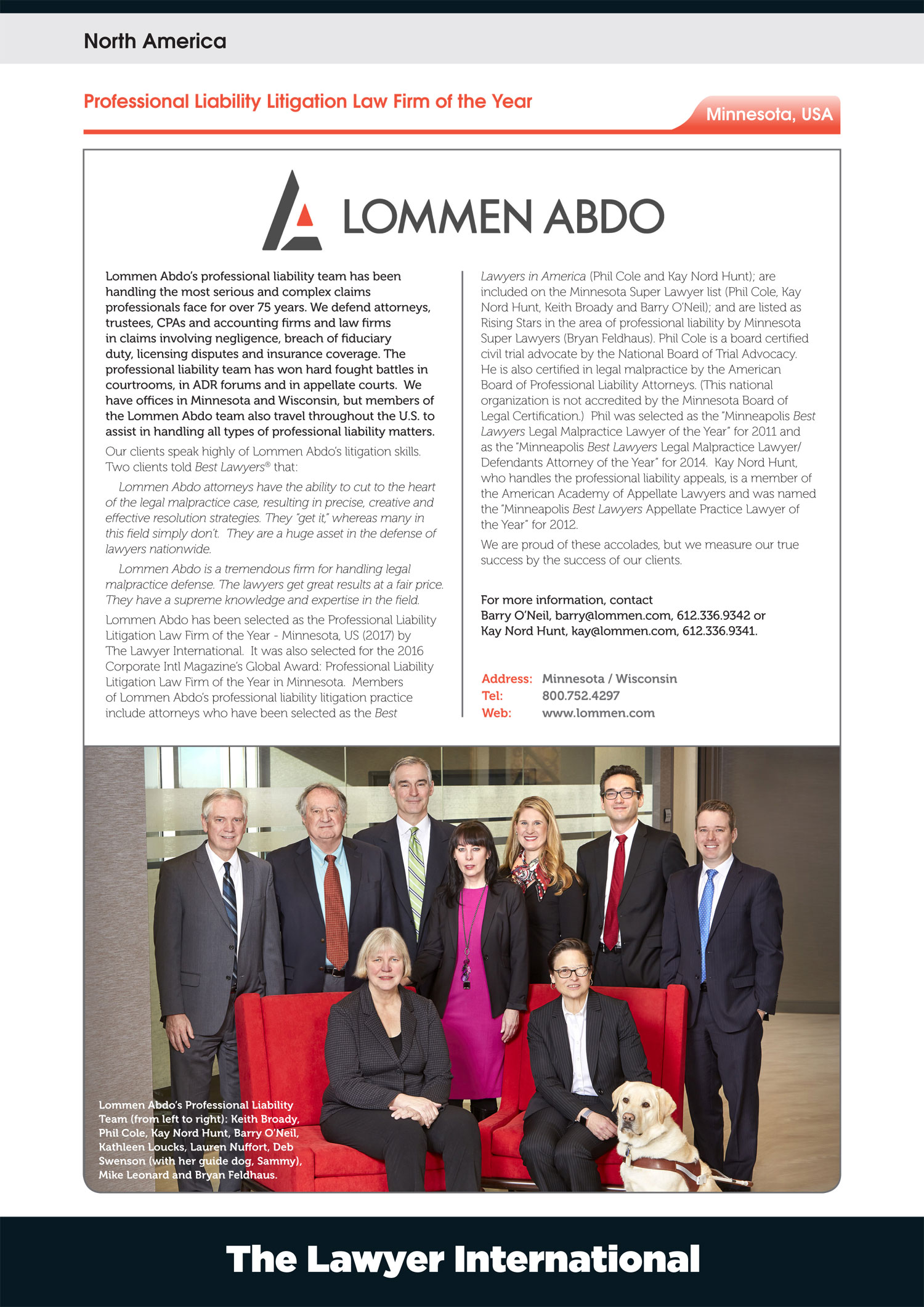 Lommen Abdo Named Professional Liability Litigation Law Firm of the Year - Minnesota, US (2017)