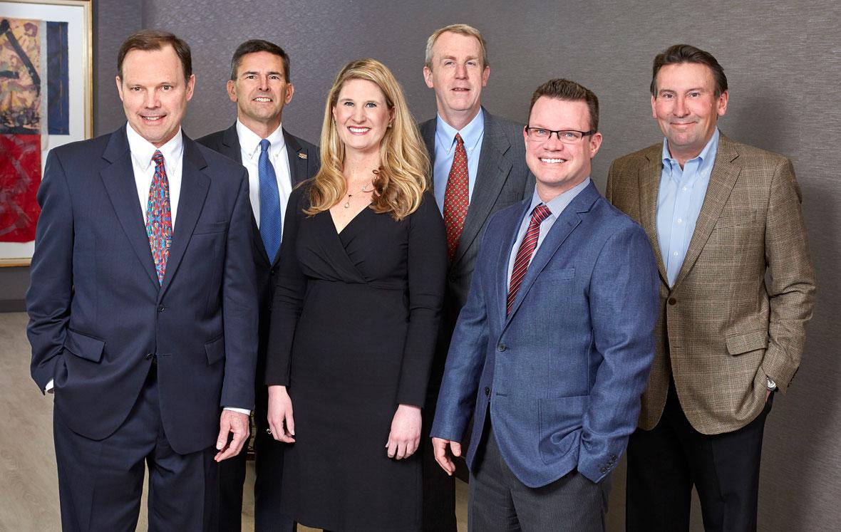 Some of Lommen Abdo's transportation attorneys: John Crawford, Jamie Johnson, Lauren Nuffort, Mike Glover, Jason Engkjer and Reid Lindquist.