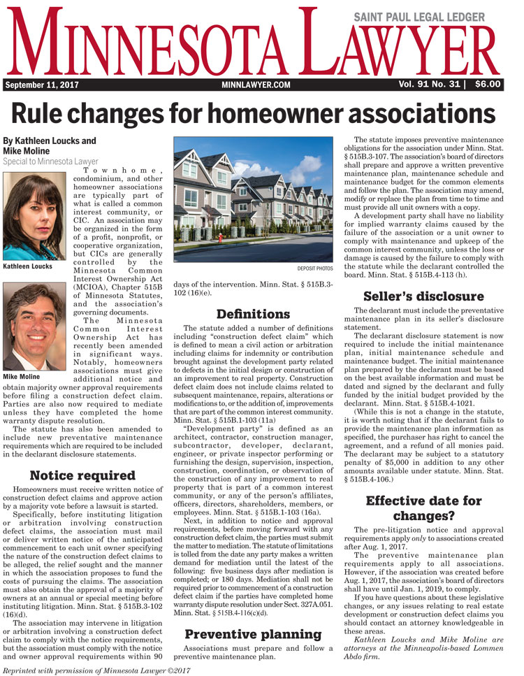 Rule Changes for Minnesota Homeowner Associations, Minnesota Lawyer article by Kathleen Loucks and Mike Moline