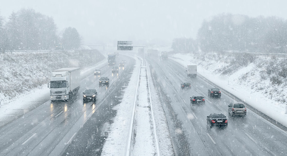 Snowy freeway driving