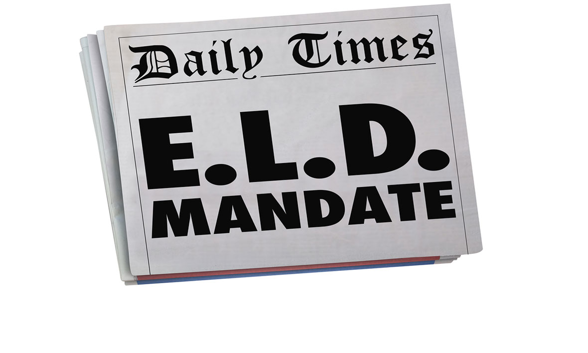 Front page of newspaper with a headline of ELD Mandate.