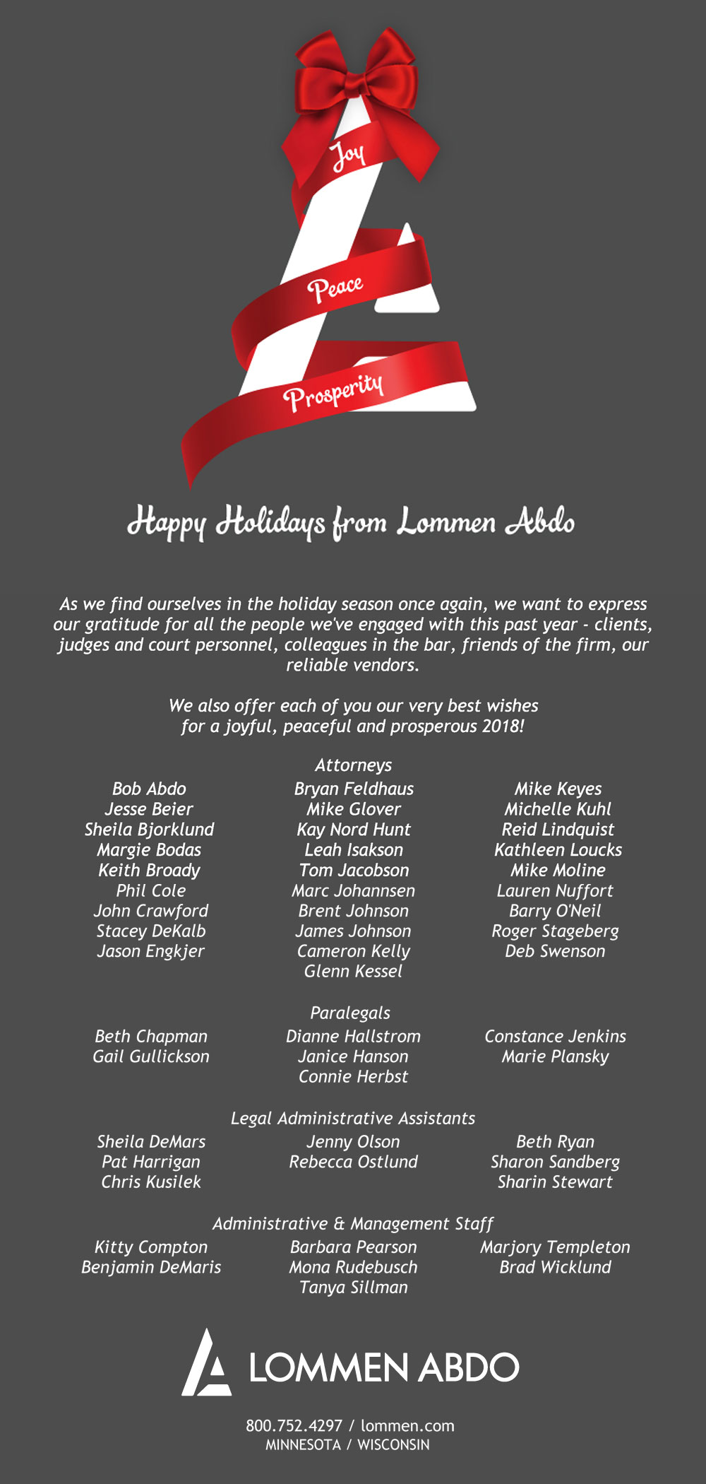 Lommen Abdo's logo tree with ribbon garland and full text greeting