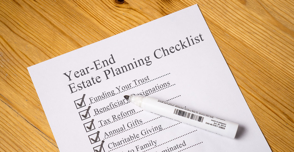 Checklist on table listing estate planning items