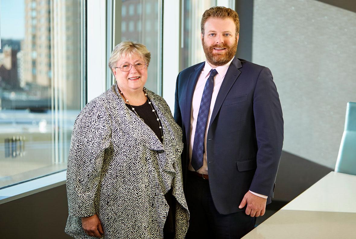 Margie Bodas and Josh Feneis, Attorneys with Lommen Abdo Law Firm