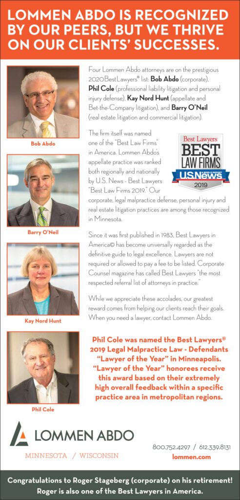 Lommen Abdo's 2020 Best Lawyers: Bob Abdo, Phil Cole, Kay Nord Hunt and Barry O'Neil