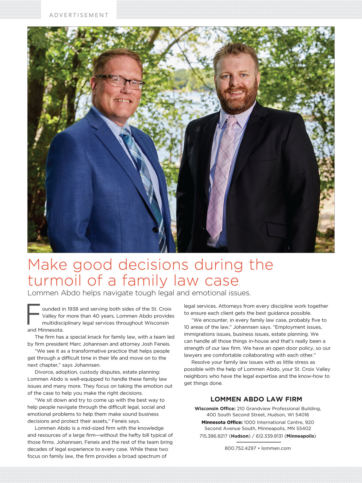 Business Profile of Lommen Abdo's Family Law Group, including Marc Johannsen and Josh Feneis