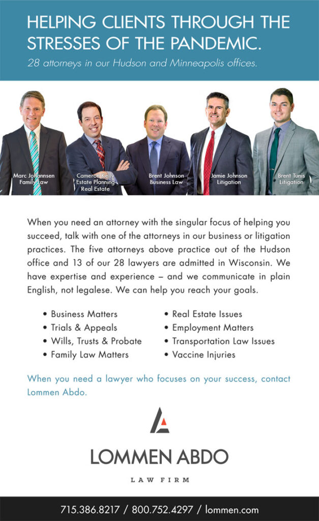 Lommen Abdo Law Firm's Ad in St. Croix Valley Magazine for 2020 Best of the St. Croix Valley