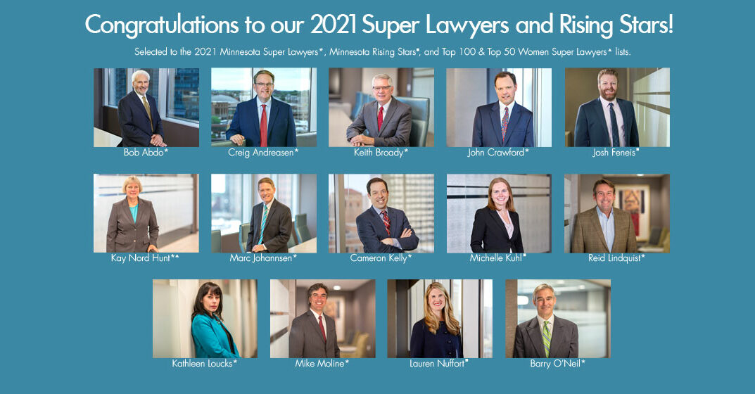 Recognizing Our 2021 Minnesota Super Lawyers and Rising Stars