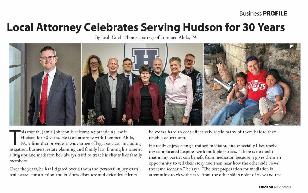 Jamie Johnson Celebrates Serving Hudson for 30 Years